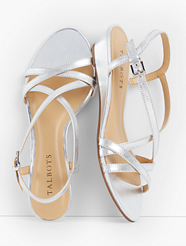 Capri Crisscross-Strap Wedges - Metallic