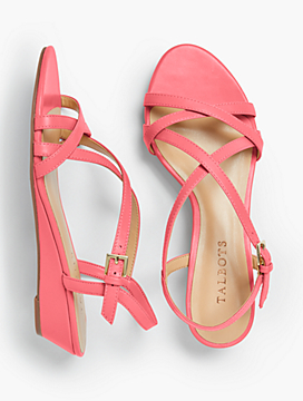 Capri Crisscross-Strap Wedges - Soft Napa