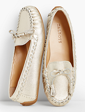 Everson Whipstitched Driving Moccasins-Metallic Pebbled Leather
