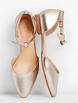 Edison Ankle-Strap Flats-Metallic Leather