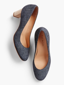 Ellery Block-Heel Pumps-Sueded Denim