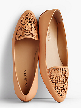 Francesca Flower-Topped Perforated Driving Flats
