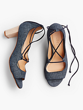 Hillary Ankle-Tie Peep-Toe Pumps-Sueded Denim