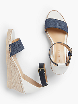 Lyndsay Espadrille Wedges-Sueded Denim