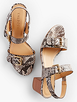 Mimi Buckle-Strap Sandals-Exotic Leather