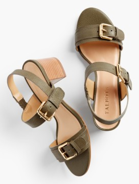 Mimi Buckle-Strap Sandals-Pebbled Leather