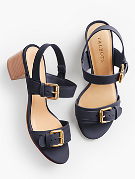 Mimi Buckle-Strap Sandals-Smooth Leather