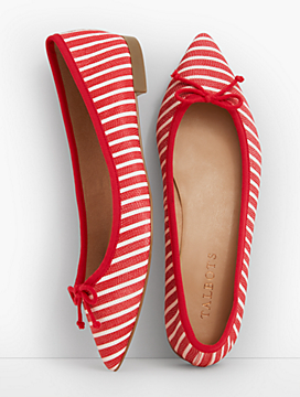 Mira Ballet Flats-Stripe Textured Leather