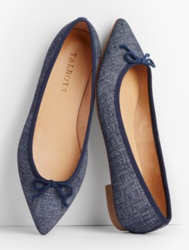 Mira Ballet Flats-Sueded Denim
