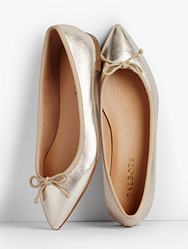 Mira Ballet Flats-Metallic Leather