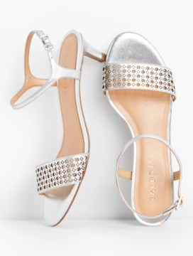 Pila Perforated Kitten-Heel Sandals-Metallic Leather