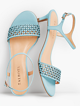 Pila Perfortated Kitten-Heel Sandals-Vachetta Leather