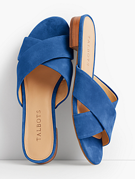 Sailor Crisscross-Strap Slides-Suede