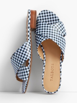 Sailor Crisscross-Strap Slides-Gingham