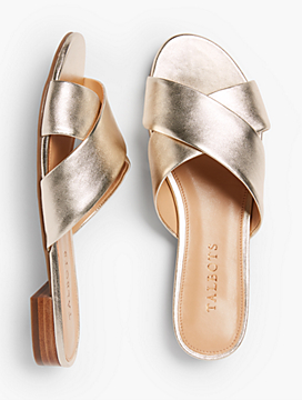 Sailor Crisscross-Strap Slides-Metallic Leather