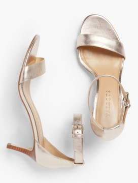 Trulli Ankle-Strap Sandals-Metallic Leather