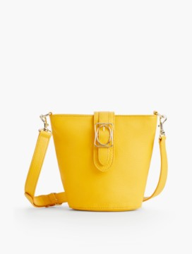Square & Oval Bucket Bag - Pebbled Leather
