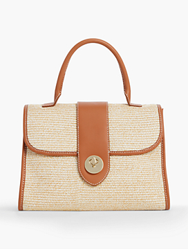 Top-Handle Straw Satchel