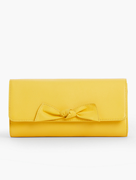 Pebbled Leather Bow Clutch