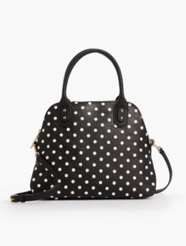 Dots Top-Handle Leather Satchel