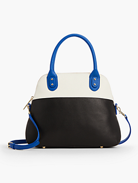 Colorblocked Top-Handle Leather Satchel