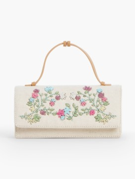 Beaded-Floral Top-Handle Clutch