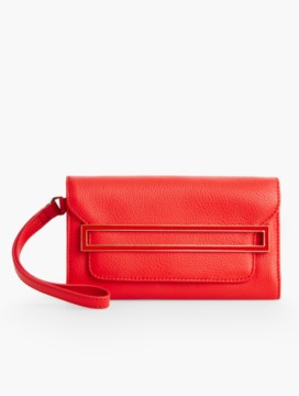 Pebbled Leather Enamel-Buckle Wristlet