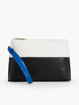 Colorblocked Leather Wristlet