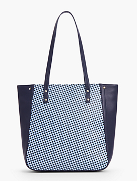 Printed Gingham Leather Tote