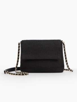 Straw Envelope Crossbody Bag-Black