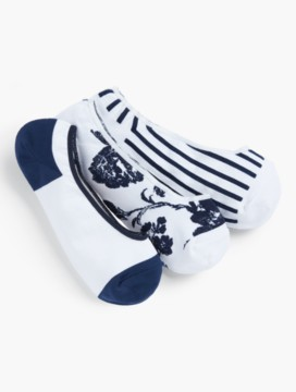 Modern Toile & Dorset-Stripe No-Show Ankle Sock - 3-pack