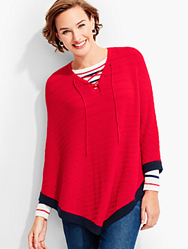 Lace-Up Poncho-Border Stripe