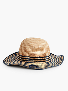 Strip Crushable Raffia Sun Hat