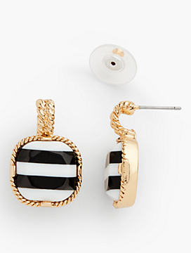 Stripe Faceted Cabochon Earrings