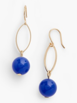 Delicate Bead & Oval-Link Earrings