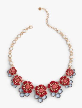 Flower & Gem Cluster Necklace