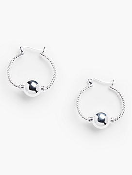 Sterling Silver Hinged-Ball Hinged Hoops