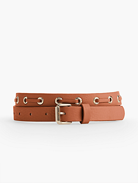 Laced Leather Belt-Pebbled Leather