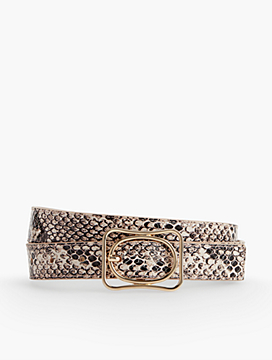 Double Buckle Belt-Exotic Leather