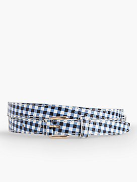 Pebbled Leather Belt-Gingham & Metallic