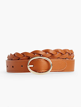 Womans Braided Pebbled Leather Belt