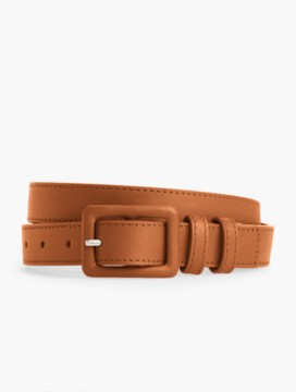 Womans Covered-Buckle Leather Belt