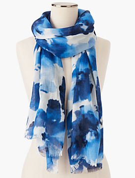 Fringed Watercolor Flowers Scarf