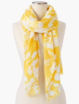 Fringed Sunrise Floral Scarf