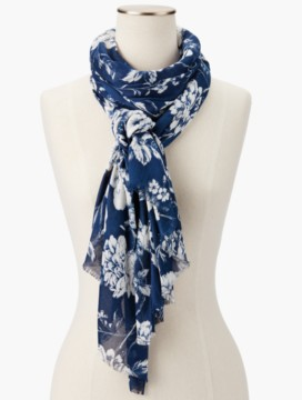 Fringed Roses Toile Scarf