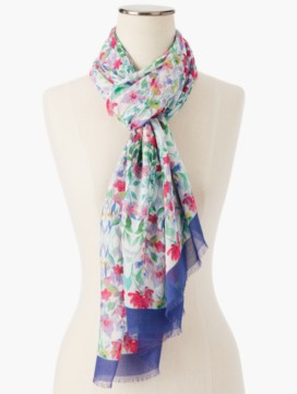 Fringed Flower Medley Scarf