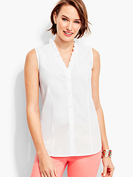 The Perfect Ruffled Sleeveless Shirt-White