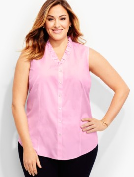 The Perfect Ruffled Sleeveless Shirt-Pink Blossom End-on-End