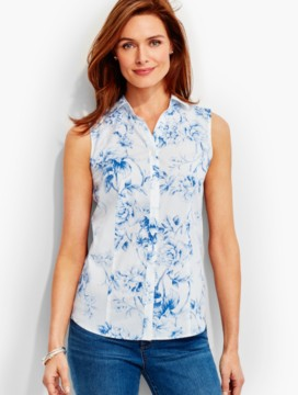 The Perfect Sleeveless Shirt-Rose Toile