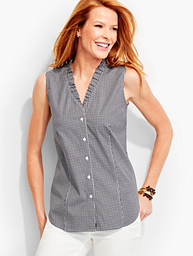 The Perfect Ruffled Sleeveless Shirt-Gingham